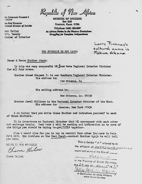 1972 Republic of New Africa letter to Larry Pinkney