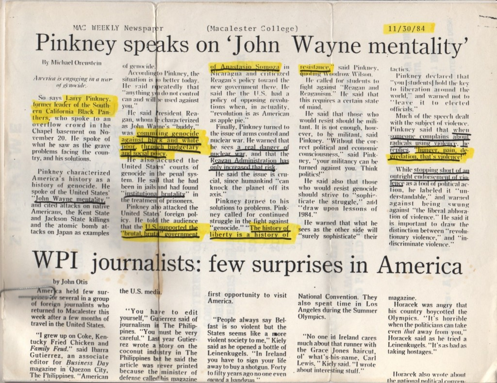 Image of 1984 Mac Weekly Newspaper article entitled 'Pinkney speaks on 'John Wayne mentality'