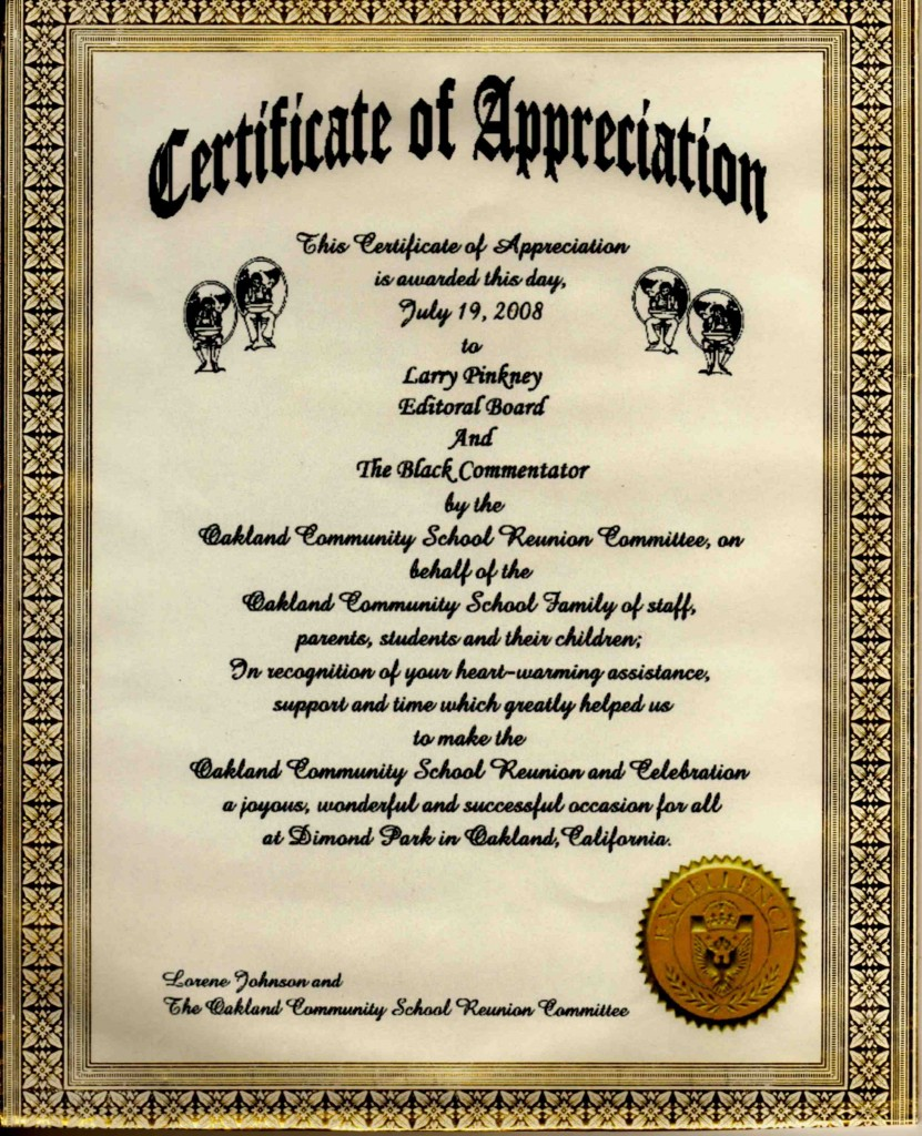 Picture of Oakland Community School Certificate of Appreciation for Larry Pinkney