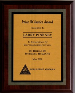 Picture of Larry Pinkney's Voice of Justice Award plaque