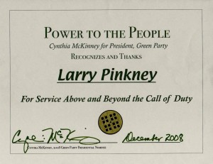 Photo of Cynthia McKinney/Green Party Award given to Larry Pinkney