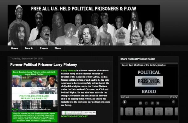 Screenshot of politicalprisonerradio.blogspot.com including pictures of political prisoners