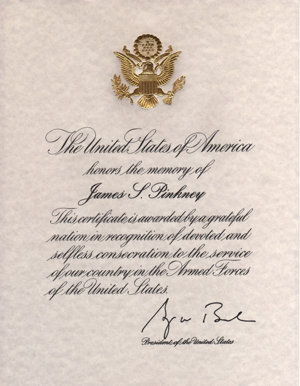 Photo of US Presidential Certificate for James S. Pinkney