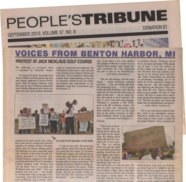 Collage image of portions of The People's Tribune, September 2010