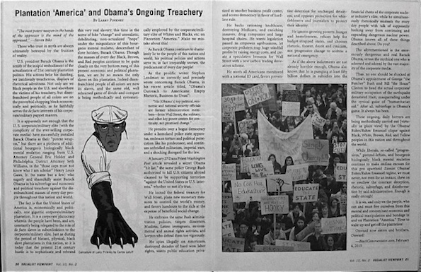 Article image includes Carlos Latuff's political cartoon depiction of Larry Pinkney