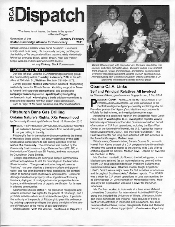 Image of front page of Jan/Feb 2011 Issue of BCA Dispatch containing quote from Larry Pinkney