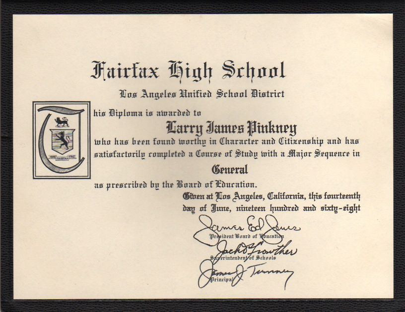 Larry Pinkney's high school diploma