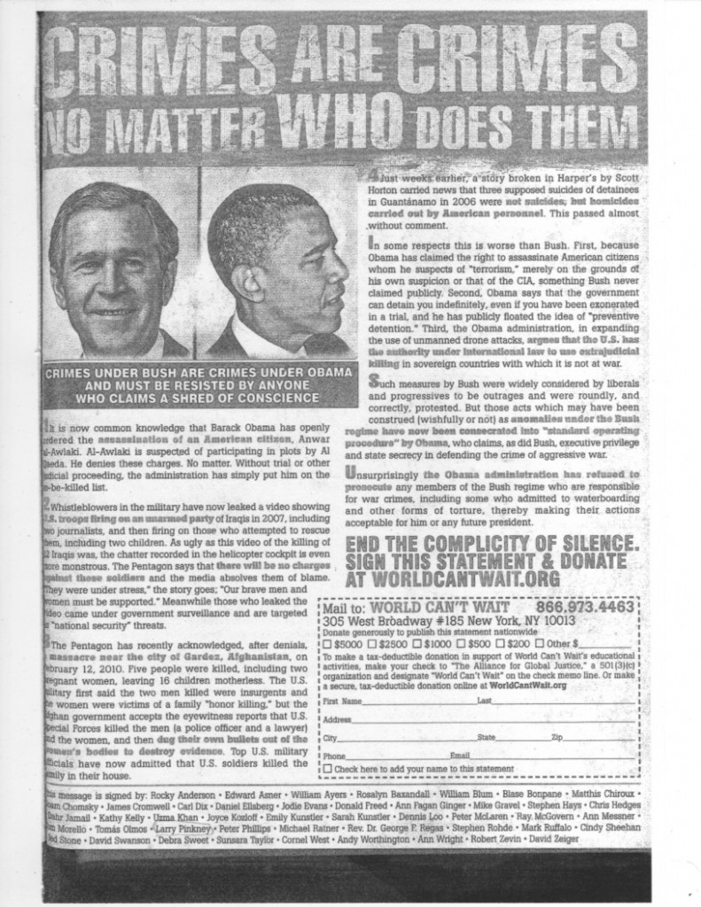 Black and white photocopy of Crimes are Crimes ad