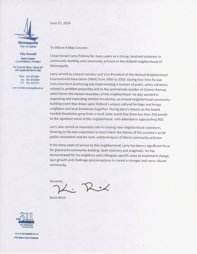Letter of Re mendation from Minneapolis City Council Member